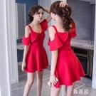 2020夏天新款性感夜場荷葉邊一字肩連身裙洋裝氣質女神范衣服吊帶裙子 OO10320【雅居屋】