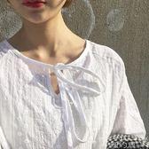 襯衫 長袖蕾絲鉤花領口細帶微透打底