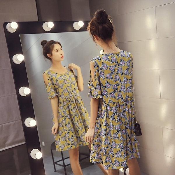 FINDSENSE G5 韓國時尚 露肩 碎花 高腰 A字裙 寬鬆 連身裙