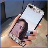 蘋果 SE2 IPhone 11 Pro Max XR XS Max IX I8 Plus I7 I6S 黑邊境面鑽殼 手機殼 全包邊 水鑽 鏡面 軟殼