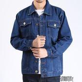 中年男士牛仔電焊工棉料工作服夾克翻領上衣勞保耐磨外套牛仔褂子