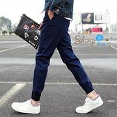 【Y013】shiny藍格子-簡搭休閒.潮韓秋冬修身鬆緊腰哈倫束腳長褲
