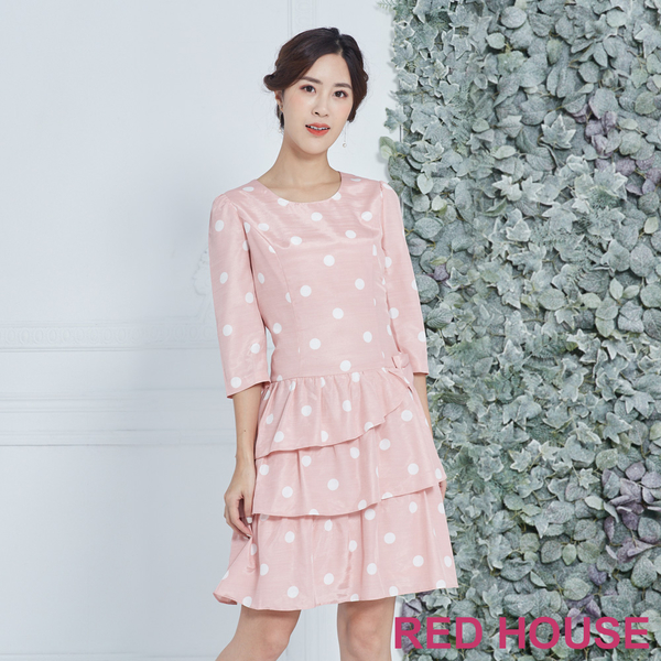 Red House 蕾赫斯-點點蛋糕蝴蝶結洋裝(粉色)