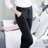 黑色褲子女職業工作工裝春秋冬2019新款寬鬆直筒休閒長西裝褲