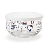 【震撼精品百貨】Hello Kitty 凱蒂貓~Sanrio HELLO KITTY日本製玻璃碗附蓋(早餐新生活)#80772