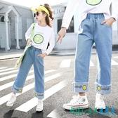 女童牛仔褲2020新款春秋褲子洋氣12中大童寬鬆直筒闊腿褲春季15歲 OO8156【科炫3c】