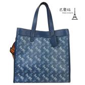 【巴黎站二手名牌專賣店】*現貨*COACH 真品*馬車LOGO藍色皮革手提斜背兩用包