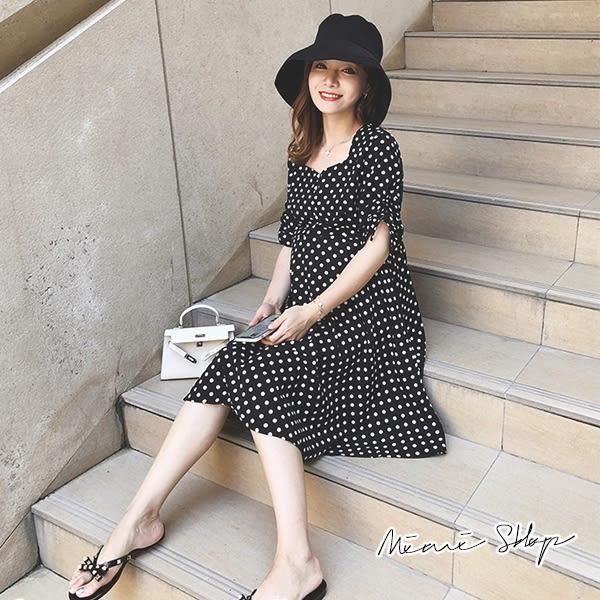 孕婦裝 MIMI別走【P52819】預約羅馬假期 波點雪紡孕婦洋裝 涼感舒適