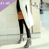 大尺碼女鞋-凱莉密碼-時尚尖頭美腿修飾V口拉鍊高跟踝靴8.5cm(41-46偏窄)【BB27-60】