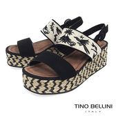 Tino Bellini 布紋刺繡雙條帶麻編厚底涼鞋 _ 黑 F83010
