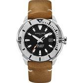 GIORGIO FEDON 1919 海洋系列200米機械錶-黑x卡其皮帶/47mm GFCH006