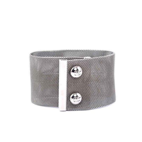 【CHANEL】LOGO寬版金屬手環 CH44000004