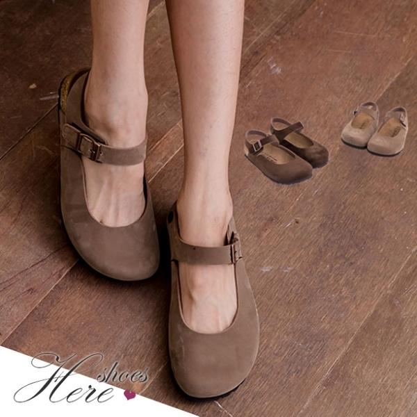 [Here Shoes]2色 俏皮風格 高質感高品質絨布基本款皮革魔鬼氈半包鞋涼鞋 ◆MIT台灣製─KW491