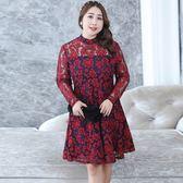 中大尺碼~個性透視網紗刺繡長袖連衣裙(XL~4XL)