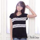 Victoria 配條蕾絲素色TEE-女-黑色