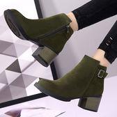 618好康又一發新款女士側拉鍊短靴高跟馬丁靴女正韓粗跟單靴子新款