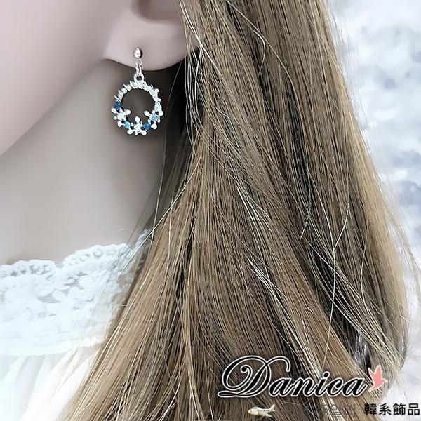 現貨 韓國氣質花朵花圈水鑽925銀針耳環 夾式耳環 S93014 批發價 Danica 韓系飾品 韓國連線