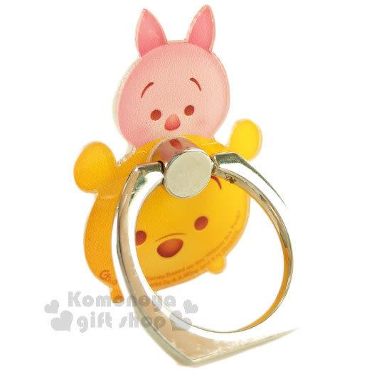 〔小禮堂〕迪士尼 Tsum Tsum 造型壓克力手機指環架《小熊維尼.堆疊》可360度旋轉 8039311-10109