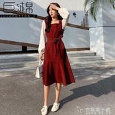 假兩件復古紅色連衣裙 新款打底收腰顯瘦氣質魚尾裙女秋冬長裙 安妮塔小舖