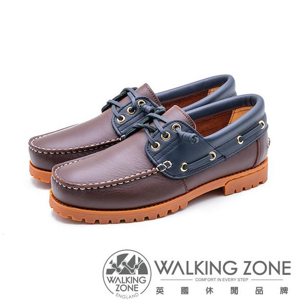 WALKING ZONE 撞色款 帆船雷根鞋 男鞋-咖啡底(另有深藍底)