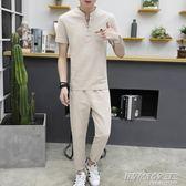 短袖套裝男T恤韓版休閒運動兩件套潮 時尚教主