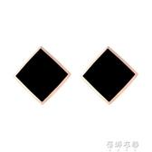 韓版氣質耳飾鈦鋼耳釘小耳墜閒約小巧短發黑色耳環女 歐韓流行館