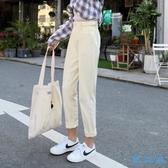 2020新款韓版牛仔褲鬆緊腰老爹褲寬鬆黑色直筒九分褲