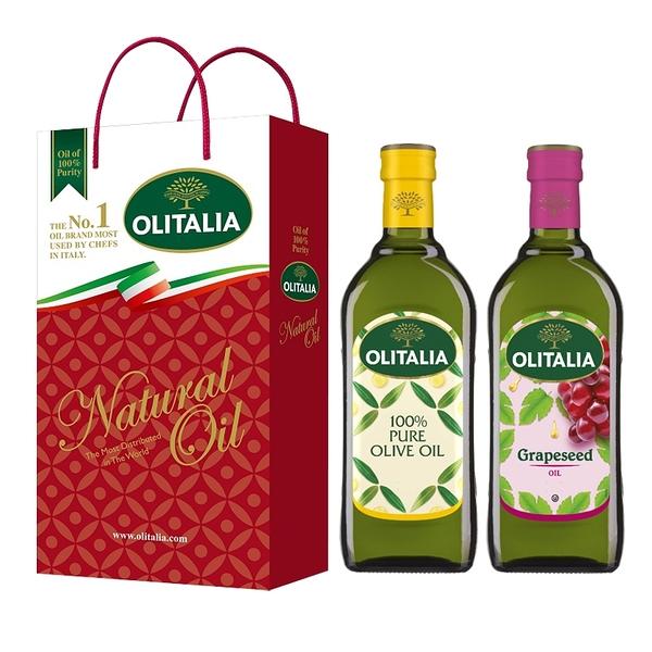 【Olitalia奧利塔】純橄欖油+葡萄籽油禮盒組(500ml各1)