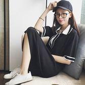 新款夏季短袖t恤女學生寬鬆韓版ulzzangV領上衣中長款百搭針織裙  Cocoa