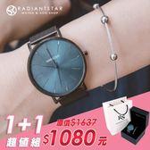 女人愛美愛自己剛剛好的喜歡1+1獨家超值禮盒手錶鈦鋼手環二件組【WKTL0518-137-1】璀璨之星☆
