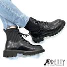 BA-20A10 女款粗跟馬丁靴 個性異材質拼接綁帶粗跟短靴/馬丁靴【PRETTY】
