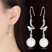 甜美花朵水滴珍珠耳墜 女鍍銀時尚鋯石氣質耳飾品《小師妹》ps357