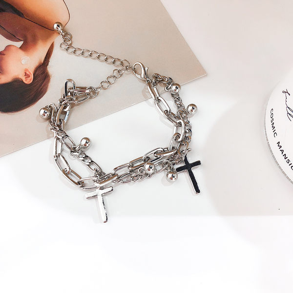 手環 個性 雙層 鍊條 十字架 珠珠 多元素 手鍊 手環 手飾【DD1905175】 BOBI  09/05