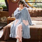 浴袍 睡袍女冬加長款珊瑚絨睡衣加絨加厚女士家居服浴袍秋冬款 喜樂屋