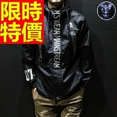 連帽外套 防風男夾克-流行修身個性英倫風防寒2色63j18[巴黎精品]