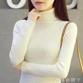 高領毛衣女秋冬套頭內搭網紅短款修身百搭上衣針織黑白色打底衫厚 蘿莉新品