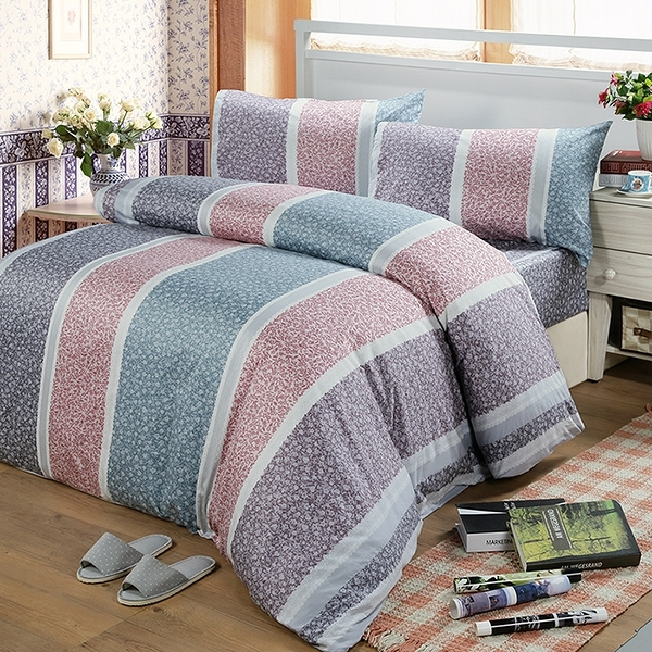 【Victoria】單人三件式純棉被套床包組-繁花_TRP多利寶