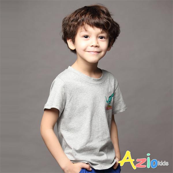 Azio 男童 上衣 恐龍溜滑板印花短袖上衣(灰) Azio Kids 美國派 童裝