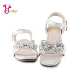精品兒童涼鞋 女童涼鞋 休閒涼鞋 氣質 水鑽蝴蝶結 J6529#白銀◆OSOME奧森鞋業