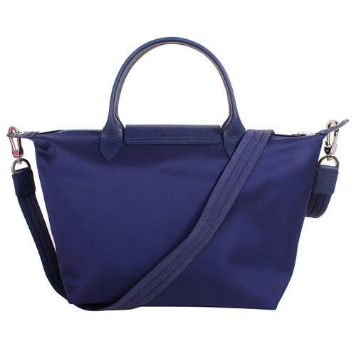 法製LONGCHAMP新非摺疊 Le Pliage Néo M款深藍色(附背帶)手提/側背 水餃包(中款)法製