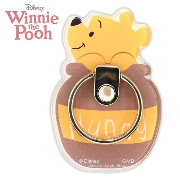 日本限定 gourmandise 迪士尼系列 小熊維尼 蜂蜜糖罐版 手機指環扣 / 手機指環扣支架