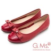 G.Ms. MIT系列-漆皮拼接菱格牛皮娃娃鞋-紅色