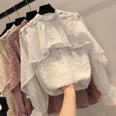 雙十二狂歡2018新款超仙洋氣荷葉邊百搭寬鬆毛毛球圓點燈籠袖雪紡衫上衣女潮