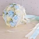 結婚花束中式韓版仿真新娘伴娘手捧花婚禮攝影道具玫瑰花紅手捧花 幸福第一站
