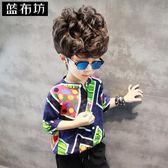 男童襯衫 夏裝半袖上衣中大童圓領潮