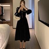 年會禮服 法式名媛娃娃領金絲絨連衣裙女春新款年會黑色禮服長裙子潮【快速出貨八折搶購】