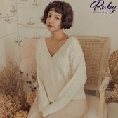外套 珍珠麻花V領針織外套-Ruby s 露比午茶