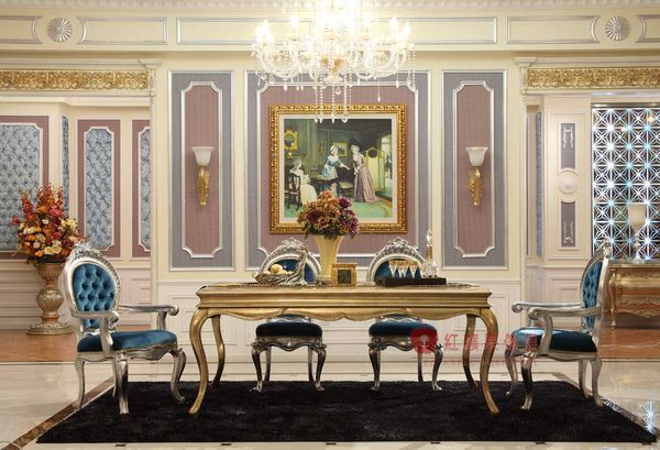 [紅蘋果傢俱] GT-014 宮廷‧凡爾賽系列 頂級進口 歐式 法式 金箔雕花 長餐桌 餐桌椅