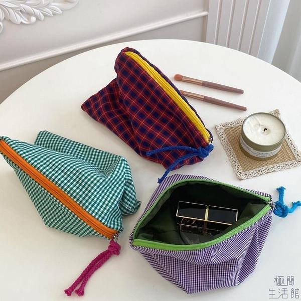 簡約格子化妝包旅行大容量收納袋【極簡生活】