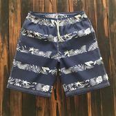男士泳褲五分速干沙灘褲 藍色樹葉印花男海邊度假溫泉游泳褲 新知優品